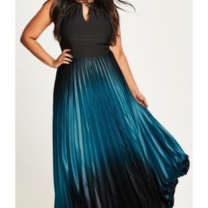 City Chic Pleated Ombre Halter Neck Maxi Dress NWT